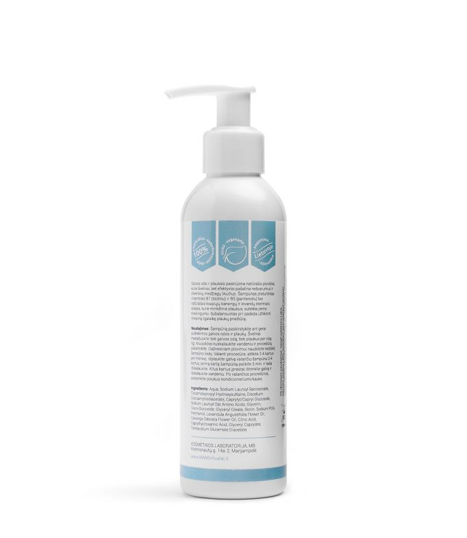 MANO natūralus šampūnas Valantis plaukus ir galvos odą 2
